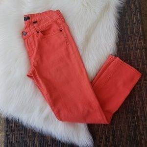 J. Crew Toothpick Skinny Jeans Stretch Coral 27
